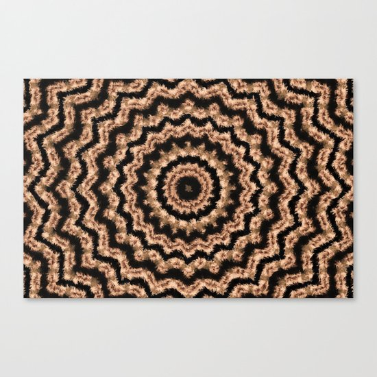 Kaleidoscope Beige Circular Pattern on Black Canvas Print