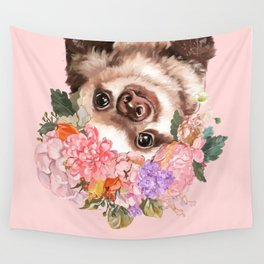 Baby Sloth with Flowers Crown in Pink Wall Tapestry