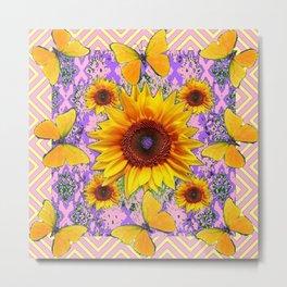 Purple Yellow Pattern  Butterflies Sunflowers Flowers Art Metal Print