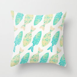 Indonesian Fish Duo – Turquoise & Cream Palette Throw Pillow
