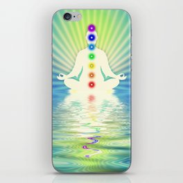 In Meditation With Chakras - Blue Ocean iPhone Skin