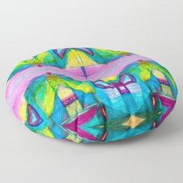 Geometric Kaleidoscope Trippy Times Floor Pillow