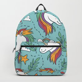 Magical Unicorn Pattern on turquoise background Backpack