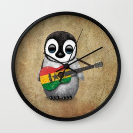 Baby Penguin Playing Ghana Flag Acoustic Guitar Wall Clock