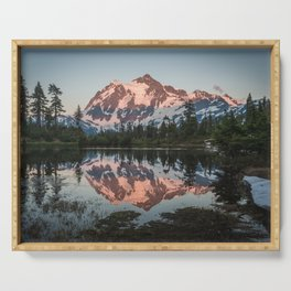 Cascade Sunset - Mt. Shuksan - Nature Photography Serving Tray