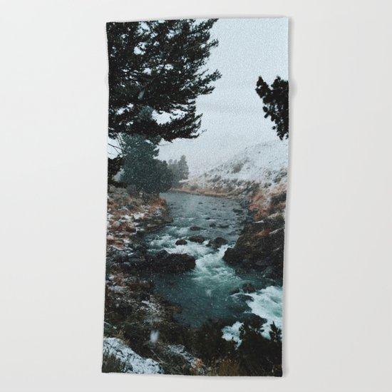 Rustic Creek in snow Beach Towel
