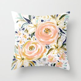 SMELLS LIKE LIGHT AND LOVE Floral Throw Pillow