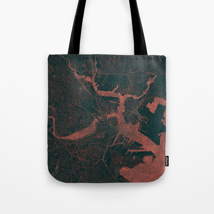 Boston Map Red Tote Bag