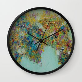 Worldly Flowers Wall Clock