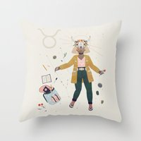 taurus Throw Pillows featuring Taurus by LordofMasks