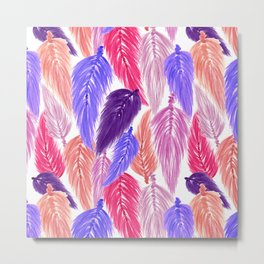 Watercolor Macrame Feather Toss in White + Purple Pink Metal Print