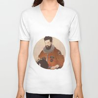 mandela V-neck T-shirts featuring Western Mandela by Lazy Trope