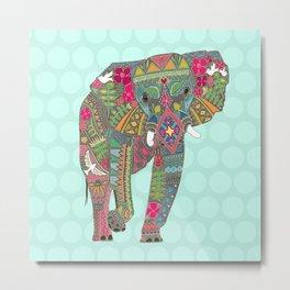 painted elephant aqua spot Metal Print