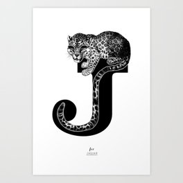letter j for jaguar Art Print