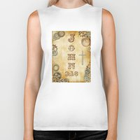 bible verse Biker Tanks featuring Steampunk Bible Verse John 3:16 by Whimsy and Nonsense