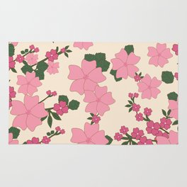 Flowers, Petals, Leaves, Blossoms - Pink Green Rug