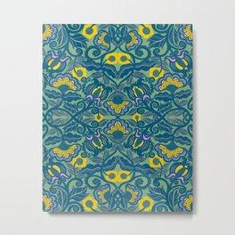 Blue Vines and Folk Art Flowers Pattern Metal Print
