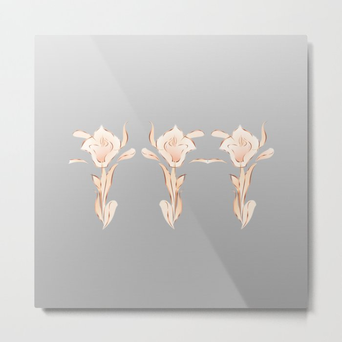 Abstract Lilies Rose Gold Gray Metal Print