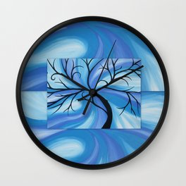 blue cool swirl sea abstract beach art cool water design wave waves designs ocean turquoise  Wall Clock