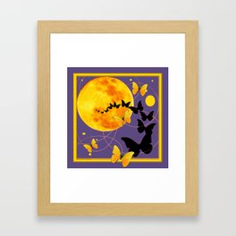 Puce Color Butterfly Full Moon Art Abstract Framed Art Print