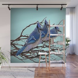 THREE AMERICAN BLUE JAYS ART WINTER ART Wall Mural