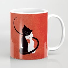 White And Black Cats In Love (red) Mug