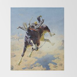 "William Leigh Western Art ""A Fighting Cyclone"" Throw Blanket"