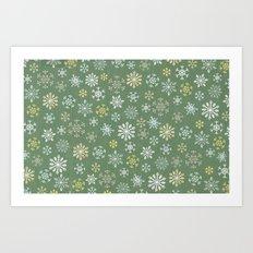 christmas snowy green Art Print