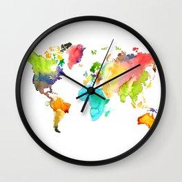 Watercolor World Wall Clock