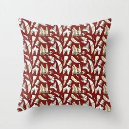 Traces - Teeth - Carmine Throw Pillow