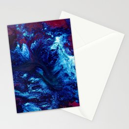 stains paint mixing blue red Stationery Cards