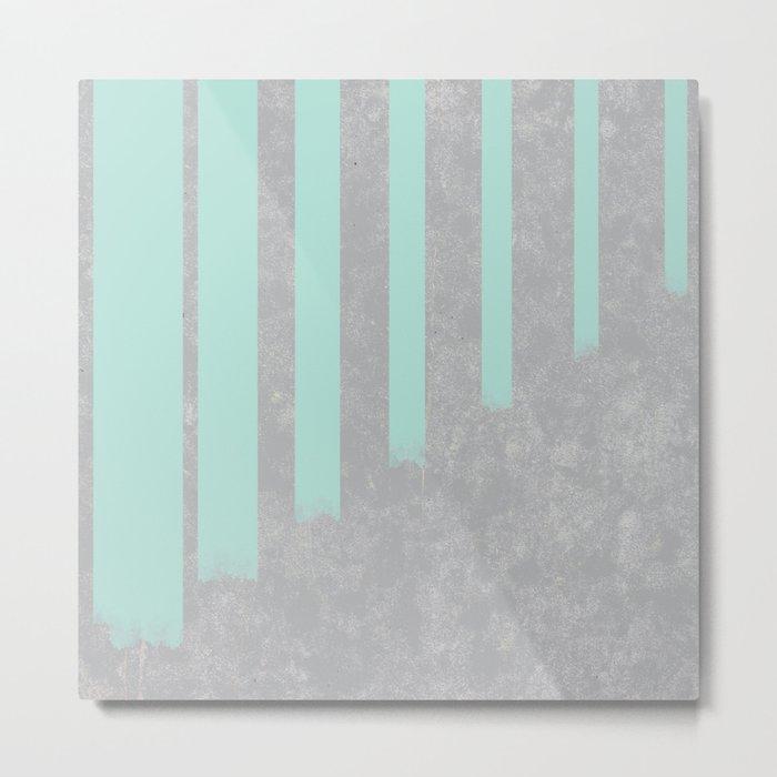Soft cyan stripes on concrete Metal Print