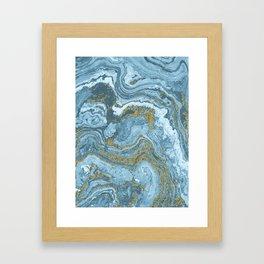 Gold Waves on Blue Framed Art Print