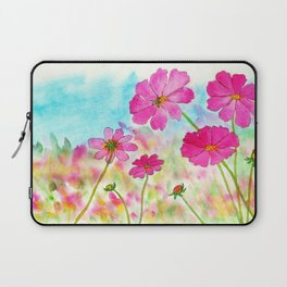 Symphony In Pink, Watercolor Wildflowers Laptop Sleeve