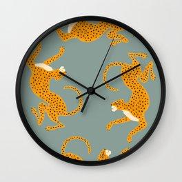 Leopard Race - blue Wall Clock