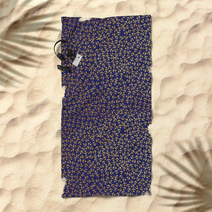 Maritime Anchors pattern- gold anchors on darkblue background Beach Towel