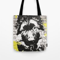 puppy Tote Bags featuring puppy by Ezgi Kaya