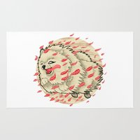 pomeranian Area & Throw Rugs featuring Pomeranian in Autumn by Jack Haughey