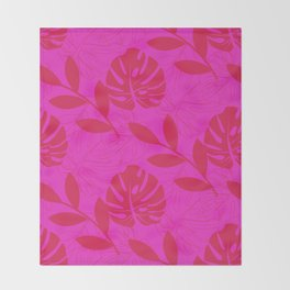Monstera Leave Red In Red Pattern Throw Blanket