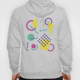 1980s Retro  Totally Gnarly Neon Geometric Abstract Patterns Hoody