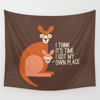 kangaroo Wall Tapestries featuring Bound to Happen by David Olenick