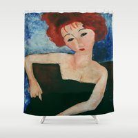 redhead Shower Curtains featuring Redhead by Sandra Dimitrijevic