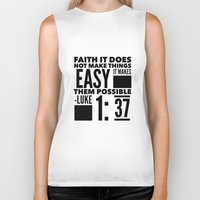bible verse Biker Tanks featuring Faith Does Not Make Things Easy- Biblical Verse by PA Melvin