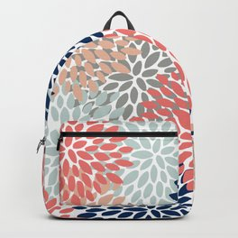 Floral Bloom Print, Living Coral, Pale Aqua Blue, Gray, Navy Backpack
