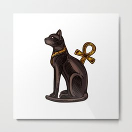 Egyptian black cat and Ankh Metal Print