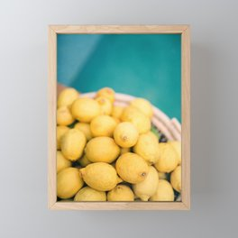 Yellow lemons next to a turquoise pool. | Colorful food photography, tropical feel. Framed Mini Art Print