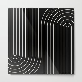 Minimal Line Curvature - Black and White II Metal Print