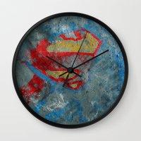 superman Wall Clocks featuring Superman by Fernando Vieira