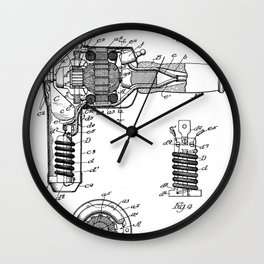 Hair Drier Patent - Salon Art - Black And White Wall Clock