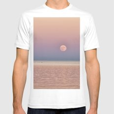 Full Moon rising over the ocean Mens Fitted Tee White MEDIUM